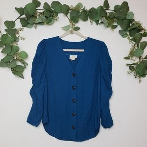 Anthropologie Maeve Button down Cinched sleeve